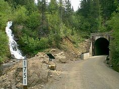Hiawatha Trail in Wallace, Idaho. I can't wait to ride this trail this summer! It's an old rail line converted to a bike trail with tunnels (that's over a mile long-so riders must wear head lamps) and trestles.