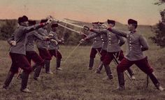Hungarian cavalrymen drilling with their sabers, 1917.