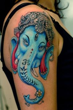 Marking your believes on your body is what tattoos are all about. It therefore no surprise find so many ganesh tattoo takers in our country! Here are some of best ganesh tattoos. Elephant Tattoo Meaning, Elephant Tattoo Design, Elephant Tattoos, Animal Tattoos, Ganesh Tattoo, Hindu Tattoos, Wiccan Tattoos, Indian Tattoos, Symbol Tattoos