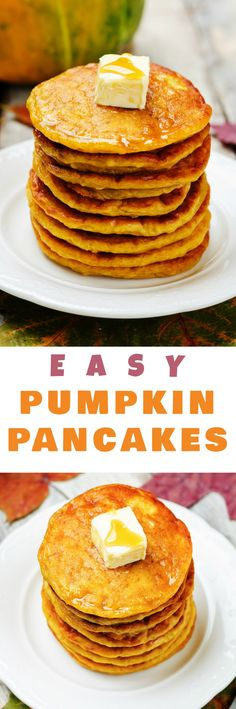 """EASY Pumpkin Pancakes recipe! These delicious extra fluffy pancakes made from scratch are low carb and packed with protein (1/2 cup pumpkin!). They make a healthy substitution instead of buttermilk pancakes. My family considers them """"the best pumpkin panc"""
