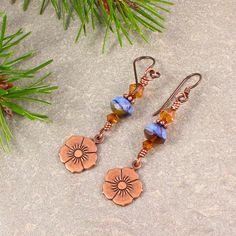 Blue Copper Czech Glass Swarovski Flower Dangle Earrings | SolanaKaiDesigns - Jewelry on ArtFire
