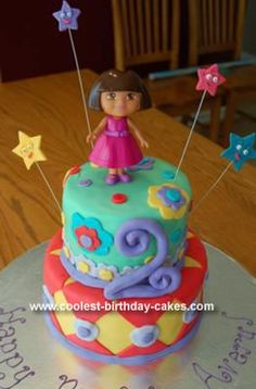 Homemade Dora Birthday Cake