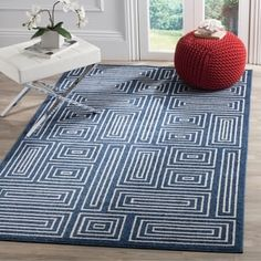 Shop for Safavieh Indoor/ Outdoor Amherst Navy/ Ivory Rug - x Get free delivery at Overstock - Your Online Home Decor Store! Get in rewards with Club O! Indoor Outdoor Area Rugs, Indoor Outdoor Rugs, Outdoor Living, Navy Blue Area Rug, Blue Area Rugs, Rugs Online, Modern Rugs, Online Home Decor Stores, Colorful Rugs