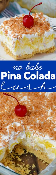 This No Bake Pina Colada Lush is super simple to throw together, but is absolutely delicious! Perfect for picnics and parties! (simple no bake treats) Mini Desserts, Birthday Desserts, Summer Desserts, Cookie Desserts, No Bake Desserts, Easy Desserts, Luau Desserts, Fruit Cookies, Vanilla Cookies