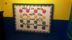 Back to school counseling bulliten board Counseling Bulletin Boards, School Counseling, Back To School, Dots, Canning, Board Ideas, Frame, Students, Stitches