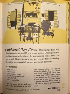 James Manning‎Downtown Dwellers Facebook page - In this cookbook from Ford is a recipe for Nut Soufflé from the Cupboard Tea Room down the street from our house and at the current location of Appleton's Creative Framers.