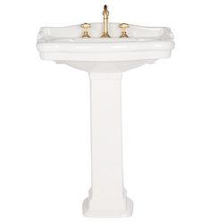 Look at this great granite sink - what a clever concept Pedistal Sink, Pedestal Sink Bathroom, Sink Faucets, Sinks, Art Deco Bathroom, Downstairs Bathroom, Bathroom Interior, Small Bathroom, Bathroom Ideas