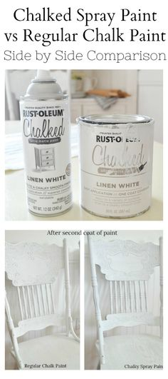 Howdy ho and happy Monday to you! I hope you're feeling bright eyed and ready to take on the week with… Rustoleum Chalked Spray Paint, Rustoleum Chalk Paint Colours, Chalk Spray Paint, Chalk Paint Chairs, Best Spray Paint, Chalk Paint Kitchen, Spray Paint Projects, Using Chalk Paint, White Spray Paint