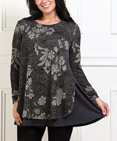 Look what I found on #zulily! Charcoal Floral Layered Tunic - Plus #zulilyfinds