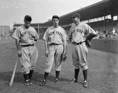Lou Gehrig with Joe DiMaggio and Bill Dickey