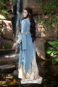 Nemiral elfen dress, Size XS-S, one of a kind, Light blue and cream, velvet and silk.  Lord of the rings style