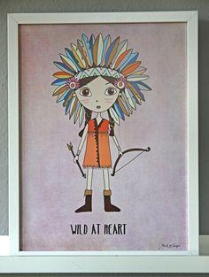 """Poster Bild """"kleine Indianerin"""" Kinderzimmer von mint & sugar auf DaWanda.com"""