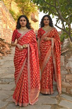 wedding saree and wedding saree indian Red wedding saree to match with your BFF