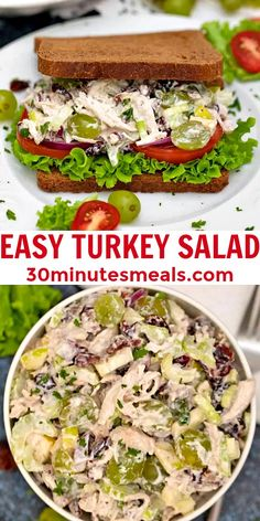 Turkey Salad is loaded with bright flavors from the fruits and crunchy celery, all tossed with shredded meat in a zesty Dijon-mayo dressing. #turkey #turkeysalad #30minutesmeals