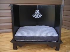 Accessories & furniture,Glamorous Dog Bed Design With Black Color Wooden Material Featuring Striped Motive Cushion Combine With White & Gray Color,Marvelous DIY Dog Beds Furniture Design Ideas