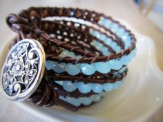 Five time wrap -  Beaded leather wrap bracelet in icy blues and chocolate brown via Etsy