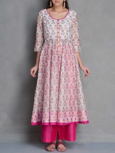 Buy Ivory Golden Fuschia Sanganer Block Printed Kalidar Chanderi Kurta Online at Jaypore.com Pakistani Dresses, Indian Dresses, Indian Outfits, Kurta Designs Women, Blouse Designs, Indian Designer Outfits, Designer Dresses, Desi Wedding Dresses, Kurti Designs Party Wear