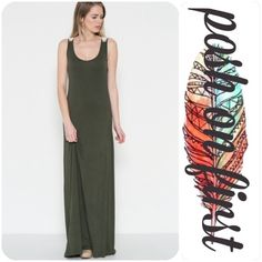⭐️RESTOCKED⭐️ Olive Sleeveless Crochet Maxi Dress 95% Rayon 5% Spandex. Only available color is olive. Black photos available for reference. posh on first boutique Dresses Maxi