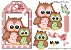 CUTE OWLS ON A TAG WITH BOW AND BUTTERFLY on Craftsuprint designed by Nick Bowley - CUTE OWLS ON A TAG WITH BOW AND BUTTERFLY, Makes a lovely card, lots of other lovely owl designs to see - Now available for download!