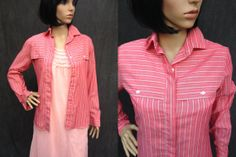 80's Runway1 Women's Pink Pinstriped Shirt by ElkHugsVintage, $17.00