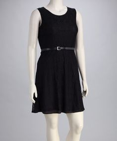19.99 Take a look at this Black Lace Belted Plus-Size Dress by Star Vixen on #zulily today!
