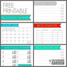 Free Printable Blog Planner - includes social media checklist, blogging bucket list and a calendar clear out to December 2014