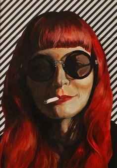 Lo - painted portrait, red hair & cigarette