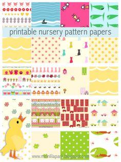 FREE printable nursery patterns and pattern papers | 80 + free printable nursery papers ^^