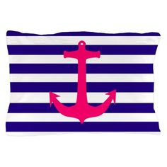 Nautical-themed pillow case with a pink anchor beautifully accentuating a nautical stripe background Nautical Pillow Cases, Nautical Flip Flops, Striped Background, Anchor, Throw Pillows, Pink, Toss Pillows, Cushions, Decorative Pillows