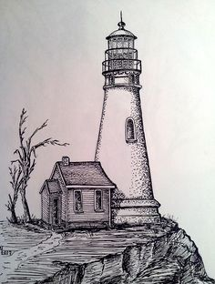 Pencil Drawing Patterns On the Steep Pencil Sketches Landscape, Landscape Drawings, Art Drawings Sketches Simple, Pencil Art Drawings, Beautiful Drawings, Easy Drawings, Lighthouse Drawing, Lighthouse Art, Art Plastique