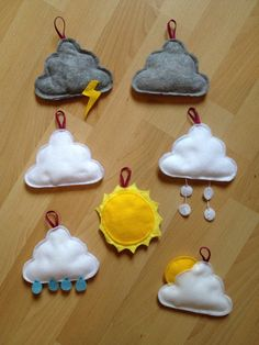 Super cute felt clouds and sun for weather play. Montessori Activities, Infant Activities, Preschool Activities, Teaching Kindergarten, Teaching Kids, School Calendar, Lessons For Kids, Kids Education, Felt Crafts