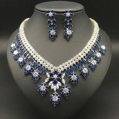 2017 new fashion luxury retro romantic blue flowers zircon necklace earring set,wedding bride dinner party formal jewelry set Jewelry Sets, Fine Jewelry, Jewelry Necklaces, Jewellery, Bracelets, Sapphire Necklace, Ring Necklace, Wedding Bride, Wedding Rings