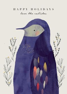 """""""Penguin"""" - Bohemian Holiday Cards in Champagne by Lori Wemple."""