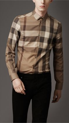 Slim Fit Tonal Check Shirt by Burberry Camisa Burberry, Burberry Shirt, Burberry Men, Burberry Outlet, Burberry Prorsum, African Men Fashion, Mens Fashion, Street Fashion, Casual Shirts For Men