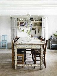I love the white washed wood table in this French Country Dinning Room