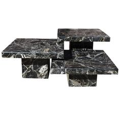 Set of Three Black Italian Marble Pedestal Coffee Tables | 1stdibs.com #ShoppingWith @goop founder Gwyneth Paltrow