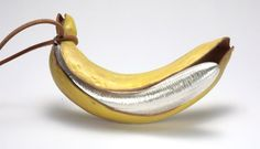 David Bielander, 'Banana', pendant, leather, silver.