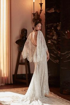 BHLDN Odalis Gown 70s Wedding Dress, Colored Wedding Dress, Bhldn Wedding Dress, Garden Wedding Dresses, Stunning Wedding Dresses, Bohemian Wedding Dresses, Wedding Dress Sleeves, Bridal Gowns, Dresses With Sleeves