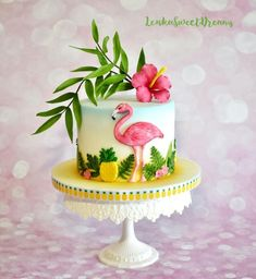 Tropical birthday cake for a tropical summer bash or a flamingo themed birthday party Luau Birthday Cakes, Luau Cakes, Birthday Cake With Flowers, Party Cakes, Birthday Ideas, Flamingo Cake, Flamingo Birthday, Celebration Cakes, Birthday Celebration