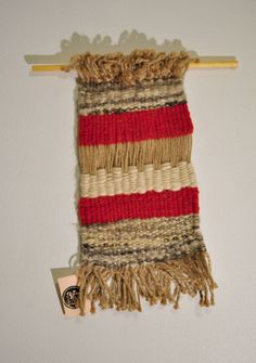 Weaving Wall Hanging Red & White by 278studio on Etsy