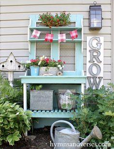 Cottage Farmhouse Garden Ideas - Red, White & Aqua Blue Potting Bench