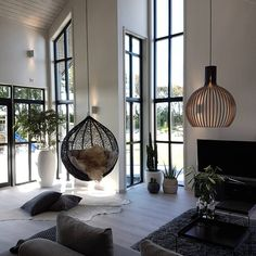 indoor hanging sofa designs to add the comfort of living room page 30 Home Living Room, Living Room Designs, Living Room Decor, Decor Interior Design, Furniture Design, Interior Decorating, Pinterest Home, Home And Deco, Sofa Design