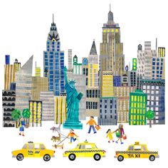 New York City by Tracey English Cut Paper Collage City Collage, Collage Art, New York Illustration, Create Canvas, City Scapes, Nyc Art, New York Art, Cut Paper, Tiffany And Co