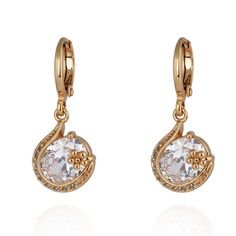18K Gold Plated Fashion Shining Wedding Jewelry Inlaid Round Zircon Copper Drop Earrings
