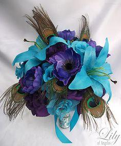 17pcs Wedding Bridal Bouquet Flower Decoration PEACOCK Feathers PURPLE TURQUOISE