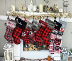Buffalo Check Plaid Red Grey Black Faux Fur Intarsia Knit Personalized Christmas Stockings Family Xmas 2018 - The Red Gray Black Buffalo Check Plaid is the latest style trend for 2018 in designer stoc Farmhouse Christmas Decor, Rustic Christmas, Christmas Home, Christmas Crafts, Christmas Ornaments, Christmas Trees, Christmas Decorations, Christmas 2019, Family Christmas Stockings