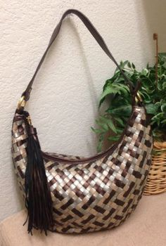 Relic Fossil Metallic Woven Faux Leather Hobo Shoulder Handbag Bag Purse  Tassel Fossil Handbags ee598e8207838