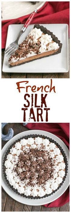 French Silk Tart | Rich, satiny smooth chocolate filling in an Oreo crust @lizzydo