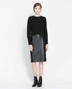 SWEATER WITH FAUX LEATHER ELBOW PATCHES from Zara
