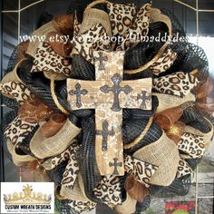 Black and Burlap Rustic Cross Wreath by lilmaddydesigns on Etsy, $95.00